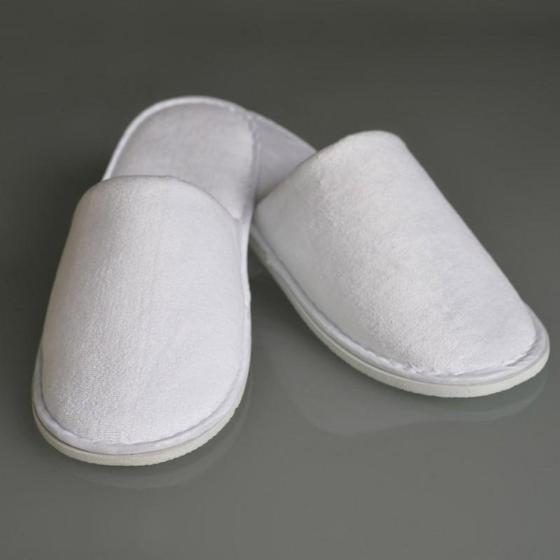 20 Paar LUXUS Velours Hotel Slipper weiß geschlossen Pantoffeln Hausschuhe